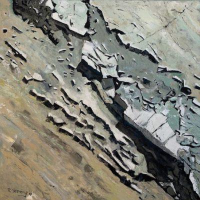"""""""Steinparty 1"""" Öl auf Leinwand 80x80cm 380€ """"Steinparty 1-2"""" als Diptychon 680€"""