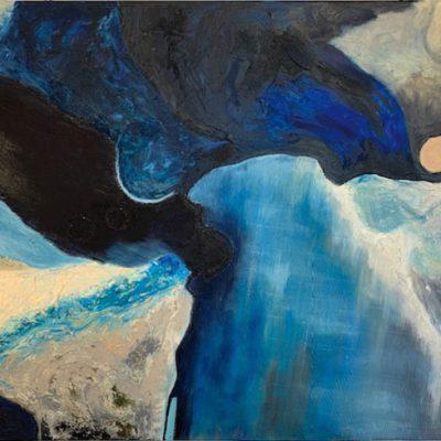 """Komposition in Blau""  Öl auf Leinwand / Relief 120x80cm 480€"