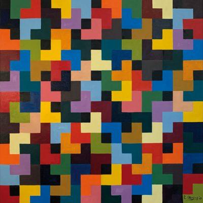 """""""Farbmosaik"""" Öl auf Leinwand 100x100cm 650€"""