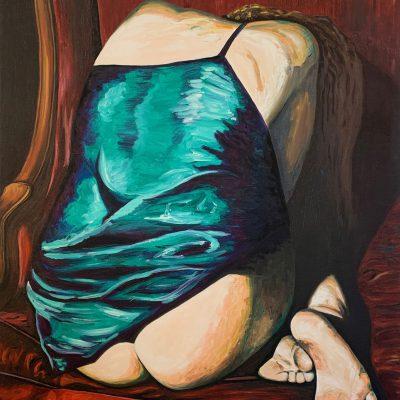 """""""Frau auf dem Sessel""""  Öl auf Leinwand 80x103cm 490€"""