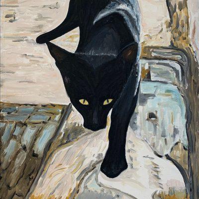 """Schwatze Katze""  Öl auf Leinwand 45x65cm 320€"